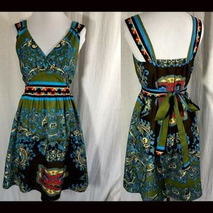 Mandala Fit and Flare Skater Dress Ties In Back S